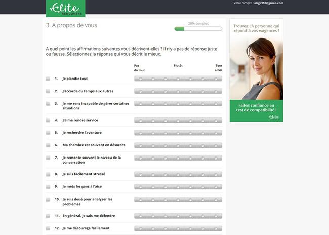 Elite Rencontre Avis questionnaire