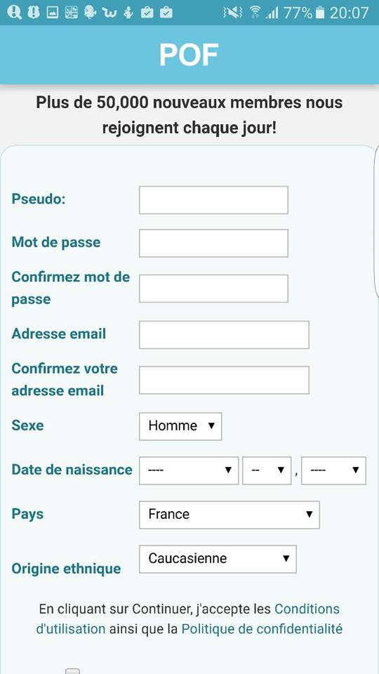 inscription pof mobile