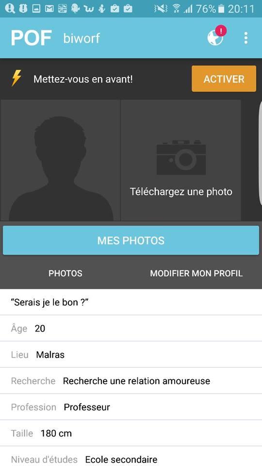 profil sur pof mobile