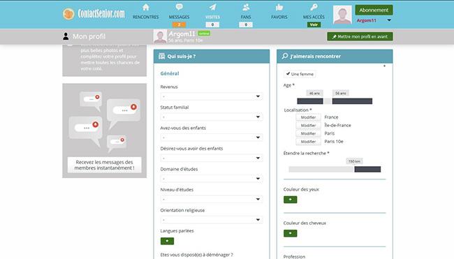 contact senior détails profil