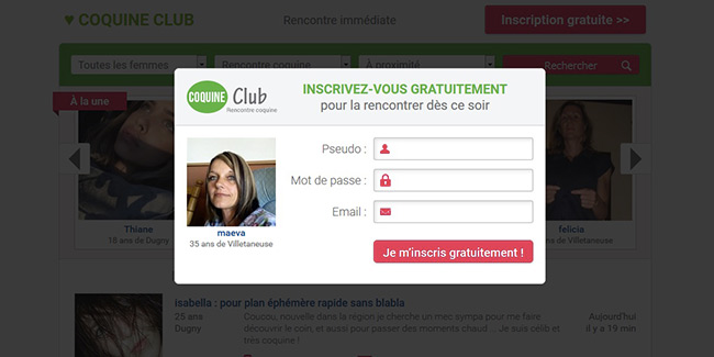 coquine club inscription